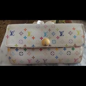 Authentic vintage LV wallet in white with colors